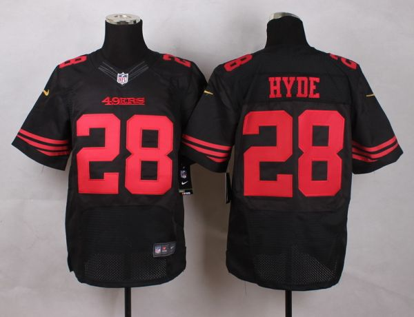NFL Customize San Francisco 49ers 28 Hyde Black Men Nike Elite Jerseys