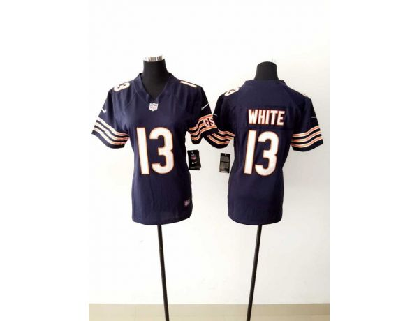 Womens Chicago Bears 13 White Blue 2015 New Nike Jerseys