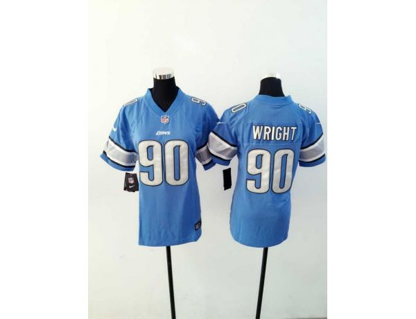 Womens Detroit Lions 90 Wright Blue 2015 New Nike Jerseys