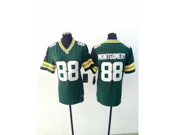 Womens Green Bay Packers 88 Montgomery Green 2015 New Nike Jerseys
