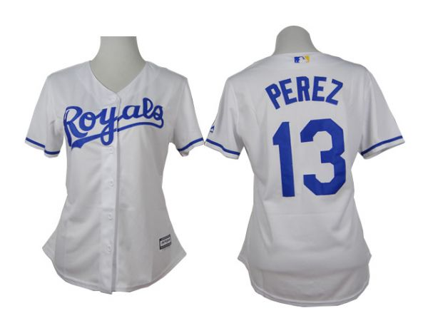 Womens Kansas Royals 13 Perez White 2015 Jerseys
