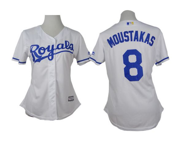 Womens Kansas Royals 8 Moustakas White 2015 Jerseys