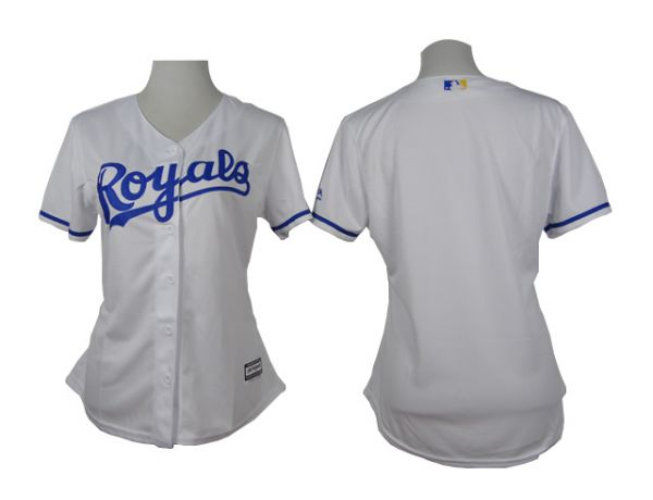 Womens Kansas Royals Blank White 2015 Jerseys
