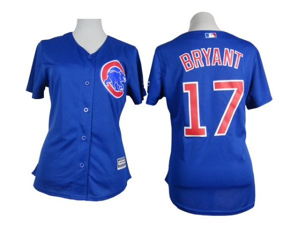 Womens MLB Chicago Cubs 17 Bryant blue 2015 Jersey