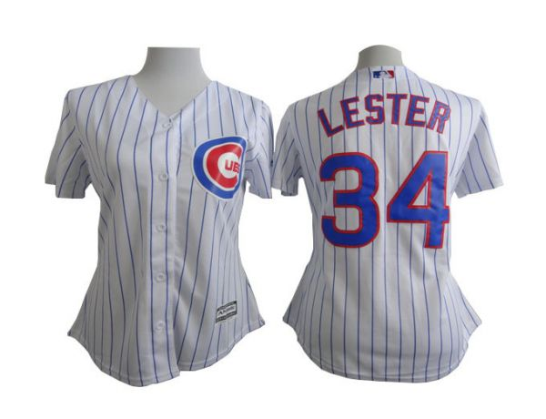 Womens MLB Chicago Cubs 34 Jon Lester White stripe 2015 New Jersey