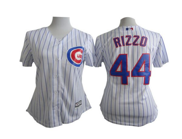 Womens MLB Chicago Cubs 44 Anthony Rizzo White stripe 2015 New Jersey