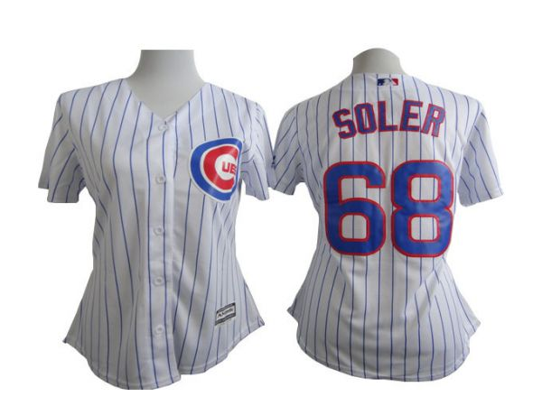 Womens MLB Chicago Cubs 68 Jorge Soler White stripe 2015 New Jersey