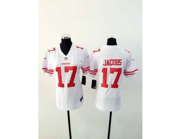 Womens San Francisco 49ers 17 Jacobs White 2015 New Nike Jerseys