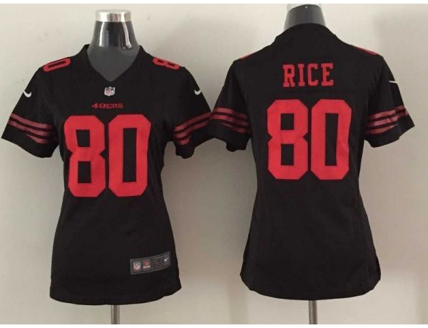 Womens San Francisco 49ers 80 rice black 2015 Nike New Jersey