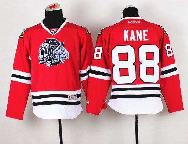 Youth NHL Chicago Blackhawks 88 Kane Red black Skull 2015 Jerseys