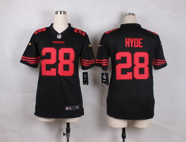 Youth San Francisco 49ers 28 Hyde Black 2015 Nike Jerseys