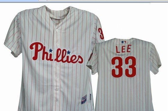 Philadelphia PHILLIES 33# Cliff Lee in pinstripe and grey MLB Jerseys
