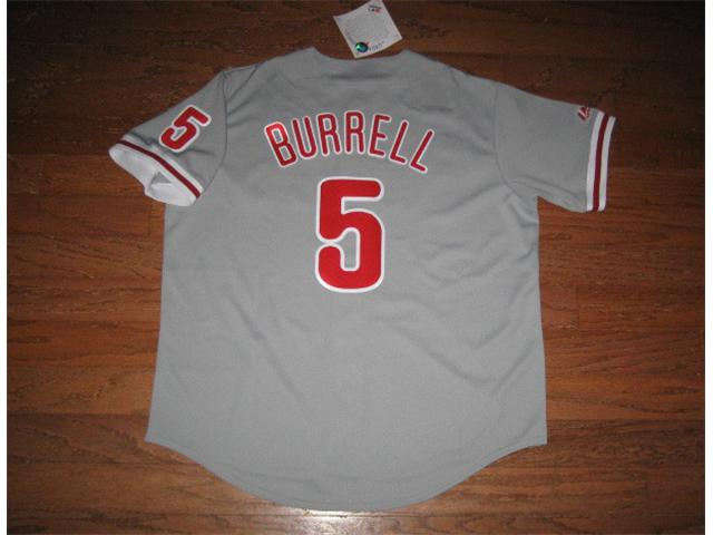 Philadelphia Phillies 5 Burrel grey MLB Jerseys