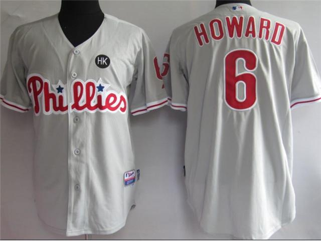 Philadelphia Phillies 6 Howard Grey MLB Jerseys
