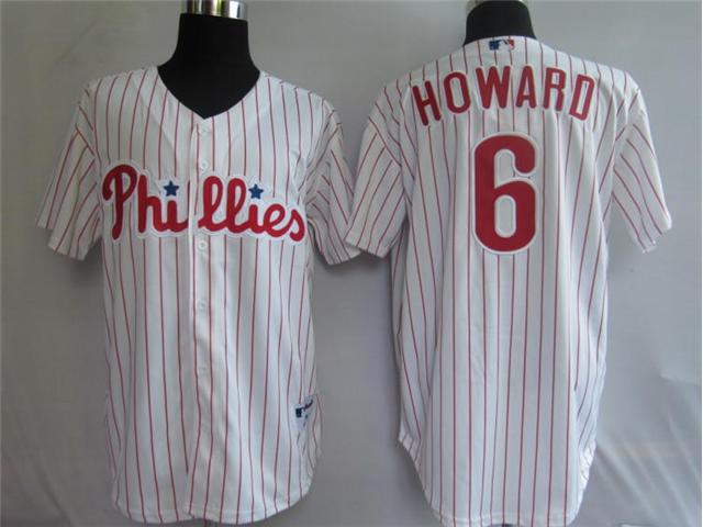 Philadelphia Phillies 6 Howard White pinstripe MLB Jerseys