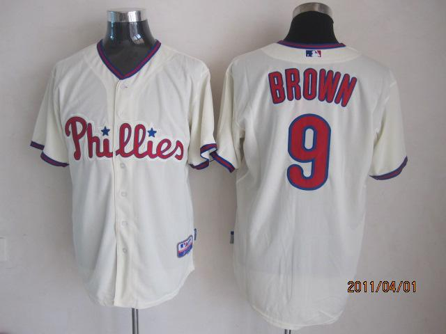 Philadelphia Phillies 9 Brown cream MLB Jerseys