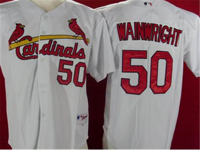 St.Louis Cardinals 50 Wainwright white MLB Jerseys