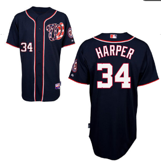 Washington Nationals 34 Bryce Harper Blue MLB Jersey