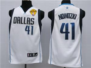 Dallas Mavericks 41 Nowitzki white jersey 2011 nba finals