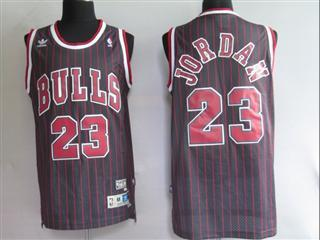 chicago bulls 23 jordan black strip red number jersey
