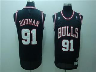 chicago bulls 91 rodman black jersey