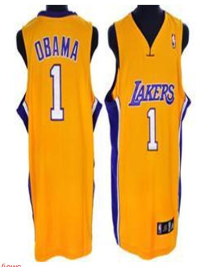 Los Angeles Lakers 1 Obama Orange Jersey