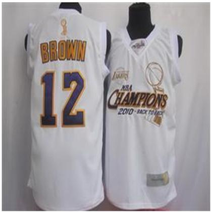 Los Angeles Lakers 12 Brown 2010 Champions White Jersey