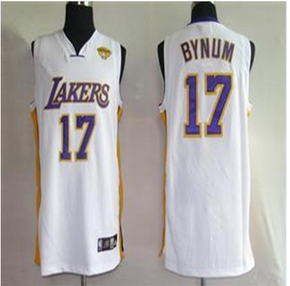 Los Angeles Lakers 17 Bynum White 2010 Finals Jersey