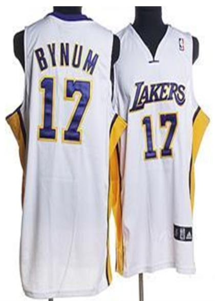 Los Angeles Lakers 17 Bynum White Jersey without Logo