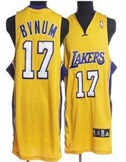 Los Angeles Lakers 17 Bynum Yellow Jersey