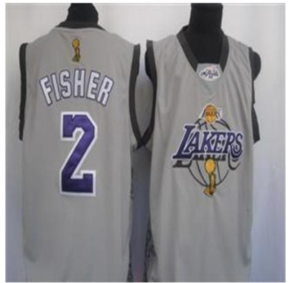 Los Angeles Lakers 2 Fisher GRAY 2010 Finals Jersey
