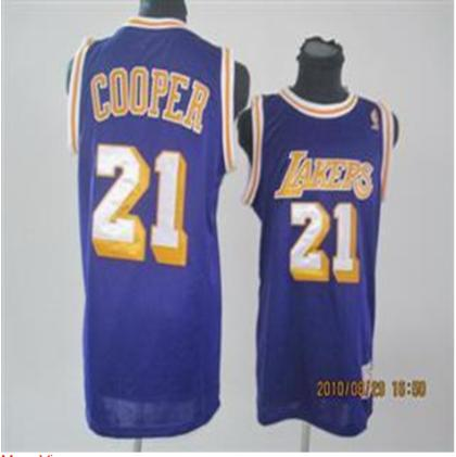 Los Angeles Lakers 21 Cooper purple Jersey Without Adidas Logo