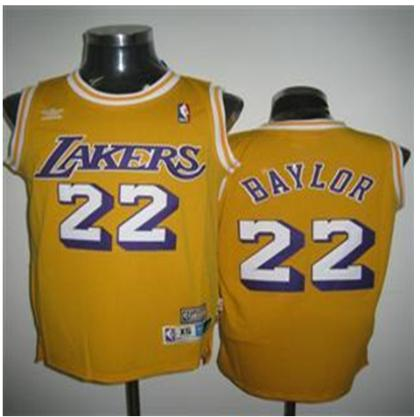 Los Angeles Lakers 22 Baylor Yellow Jersey With Adidas Logo