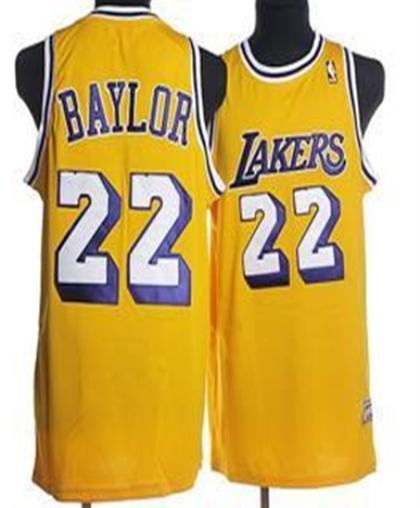 Los Angeles Lakers 22 Baylor Yellow Jersey