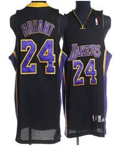 Los Angeles Lakers 24 Bryant Black Jersey With Blue Number