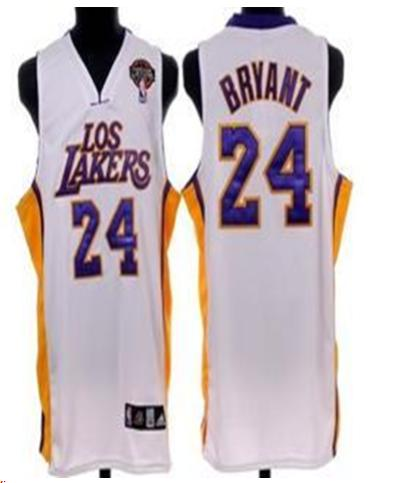 Los Angeles Lakers 24 Bryant White Jersey With Logo Patch