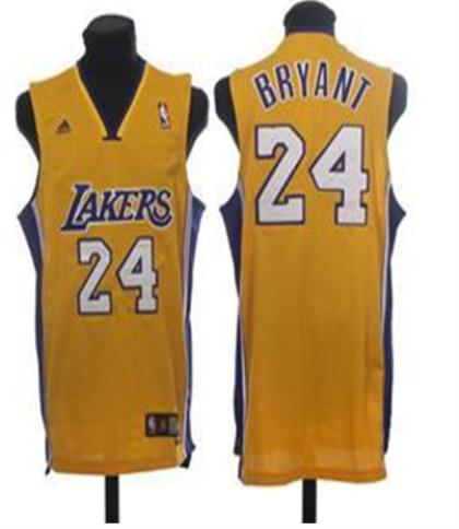 Los Angeles Lakers 24 Bryant Yellow Jersey