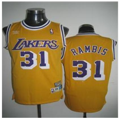 Los Angeles Lakers 31 Rambis Yellow Jersey