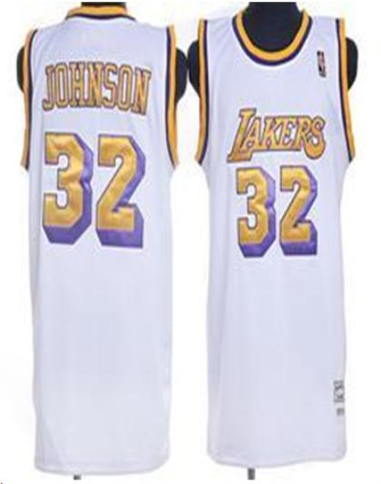 Los Angeles Lakers 32 Johnson White Jersey