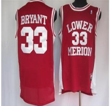 Los Angeles Lakers 33 Bryant Lower Merion Red Jersey