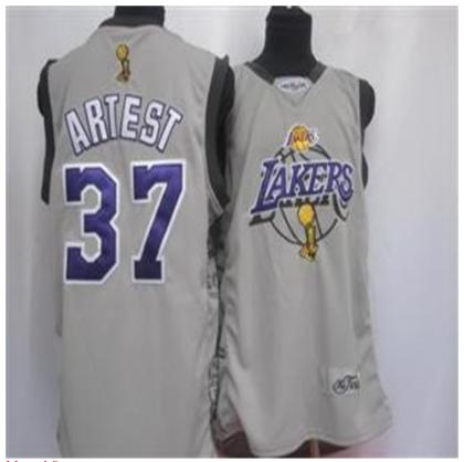 Los Angeles Lakers 37 Artest Grey Jersey