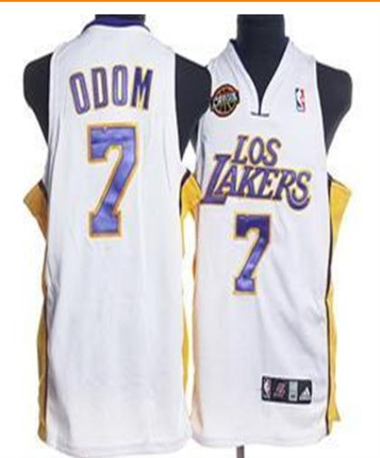 Los Angeles Lakers 7 Odom White Jersey With Logo