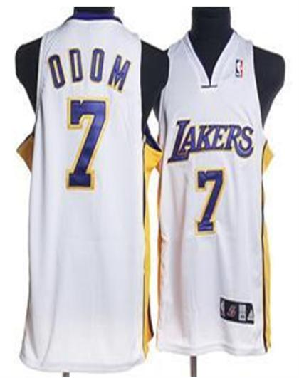 Los Angeles Lakers 7 Odom White Jersey