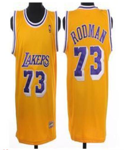 Los Angeles Lakers 73 Rodman Yellow Jersey
