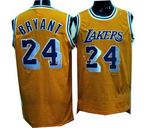 Los Angeles Lakers 24 Kobe Bryant Walter Brown HWC Swingman Yellow Jersey