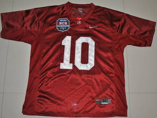 Crimson Tide 10 AJ McCarron Red BCS Championship Patch Stitched NCAA Jersey