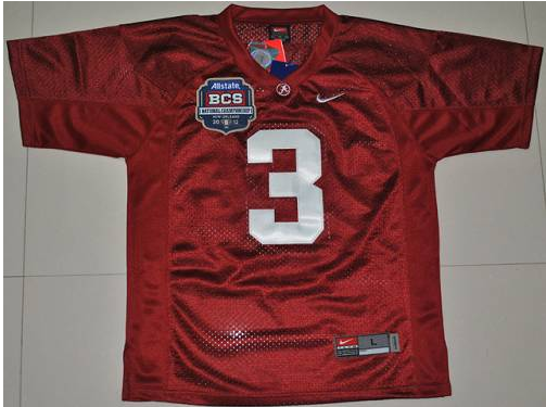 Crimson Tide 3 Trent Richardson Red BCS Championship Patch Stitched NCAA Jersey
