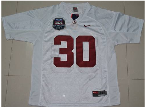 Crimson Tide 30 Donot Hightower White BCS Championship Patch Stitched NCAA Jersey