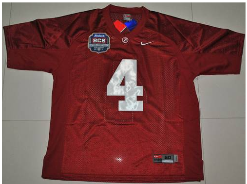 Crimson Tide 4 Marquis Maze Red BCS Championship Patch Stitched NCAA Jersey