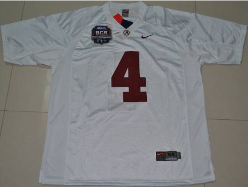 Crimson Tide 4 Marquis Maze White BCS Championship Patch Stitched NCAA Jersey